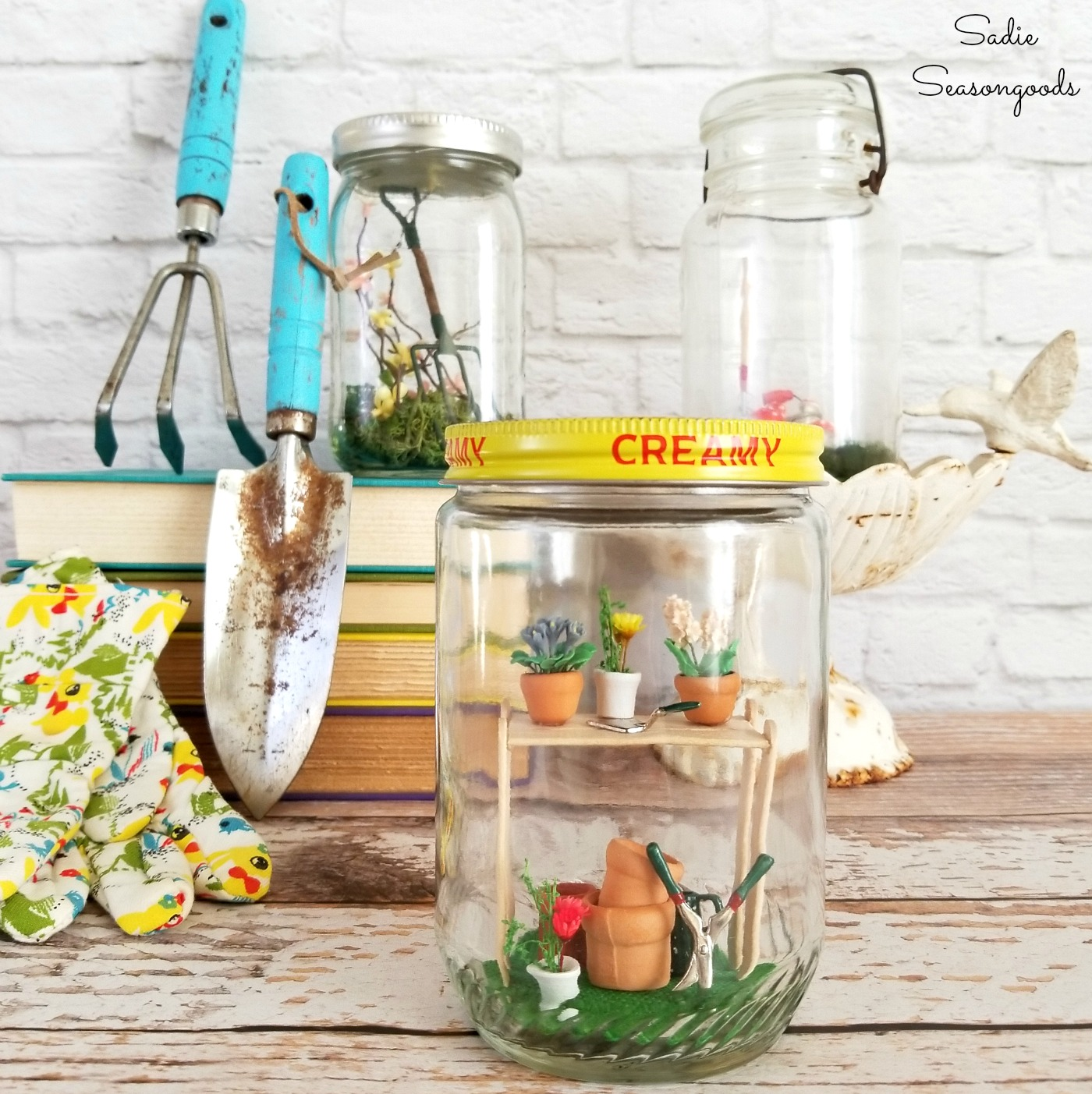 Spring Garden Scenes inside Pickle Jars or Vintage Jars