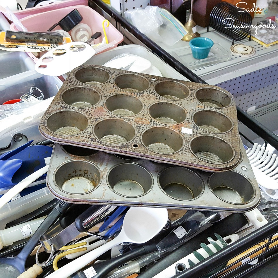 Muffin tins at a thrift store for upcycling into the propagation trays for herb seeds