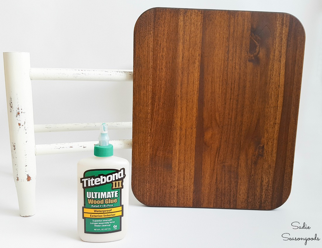 Restoring a small footstool that had a rush seat with a wooden cutting board