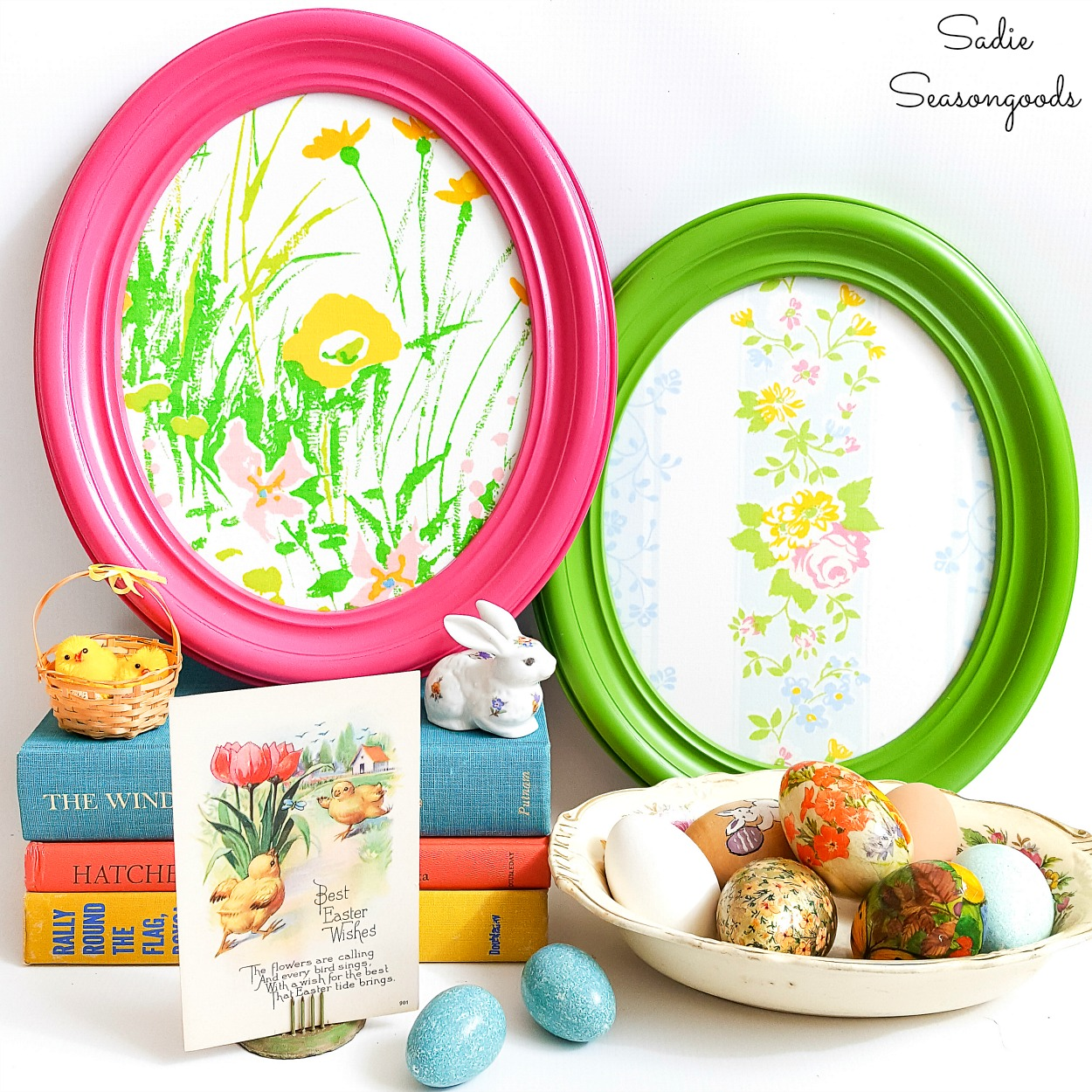 DIY Easter Egg Decor from Vintage Oval Frames