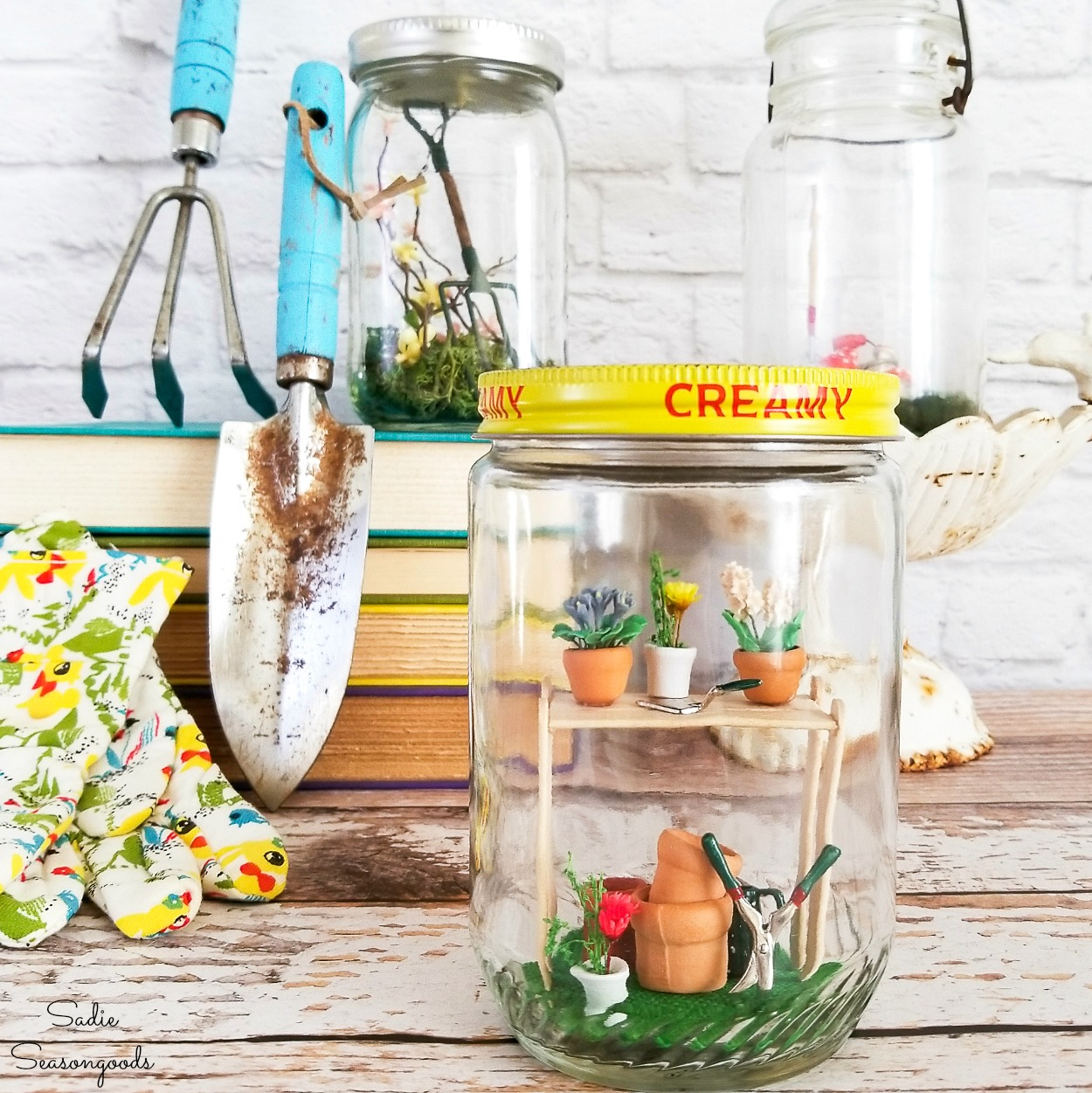 Decorating for Spring with Fairy Garden Accessories in Vintage Glass Jars
