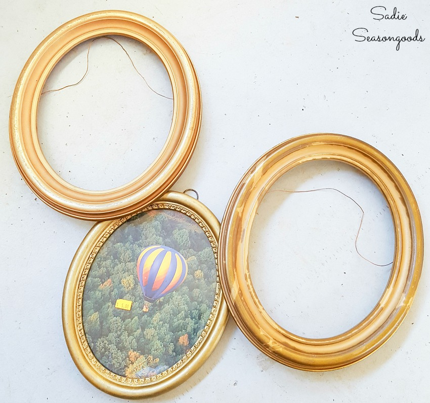 Vintage oval frames to be upcycled into Easter mantel decorations