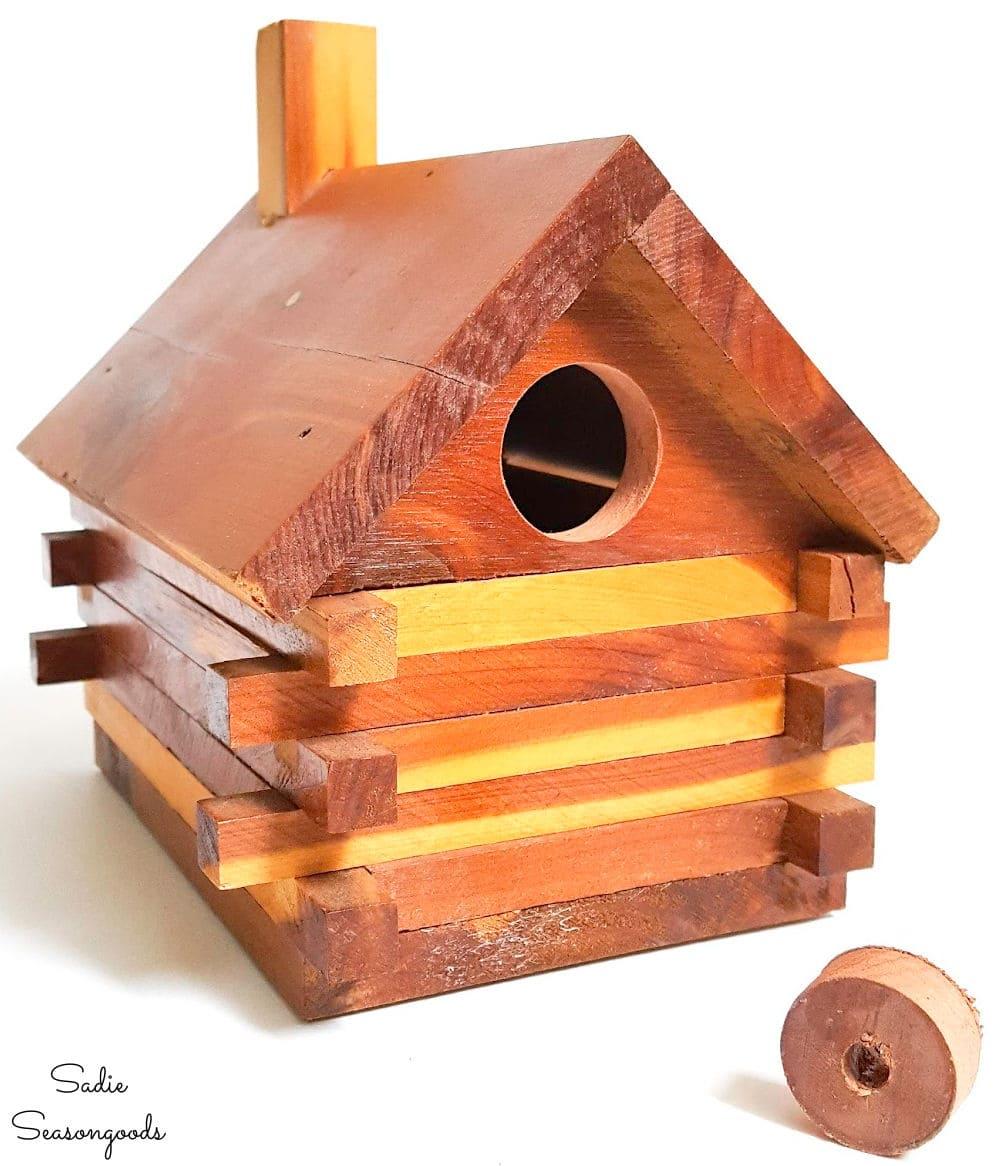 Drilling an entrance hole in a DIY birdhouse