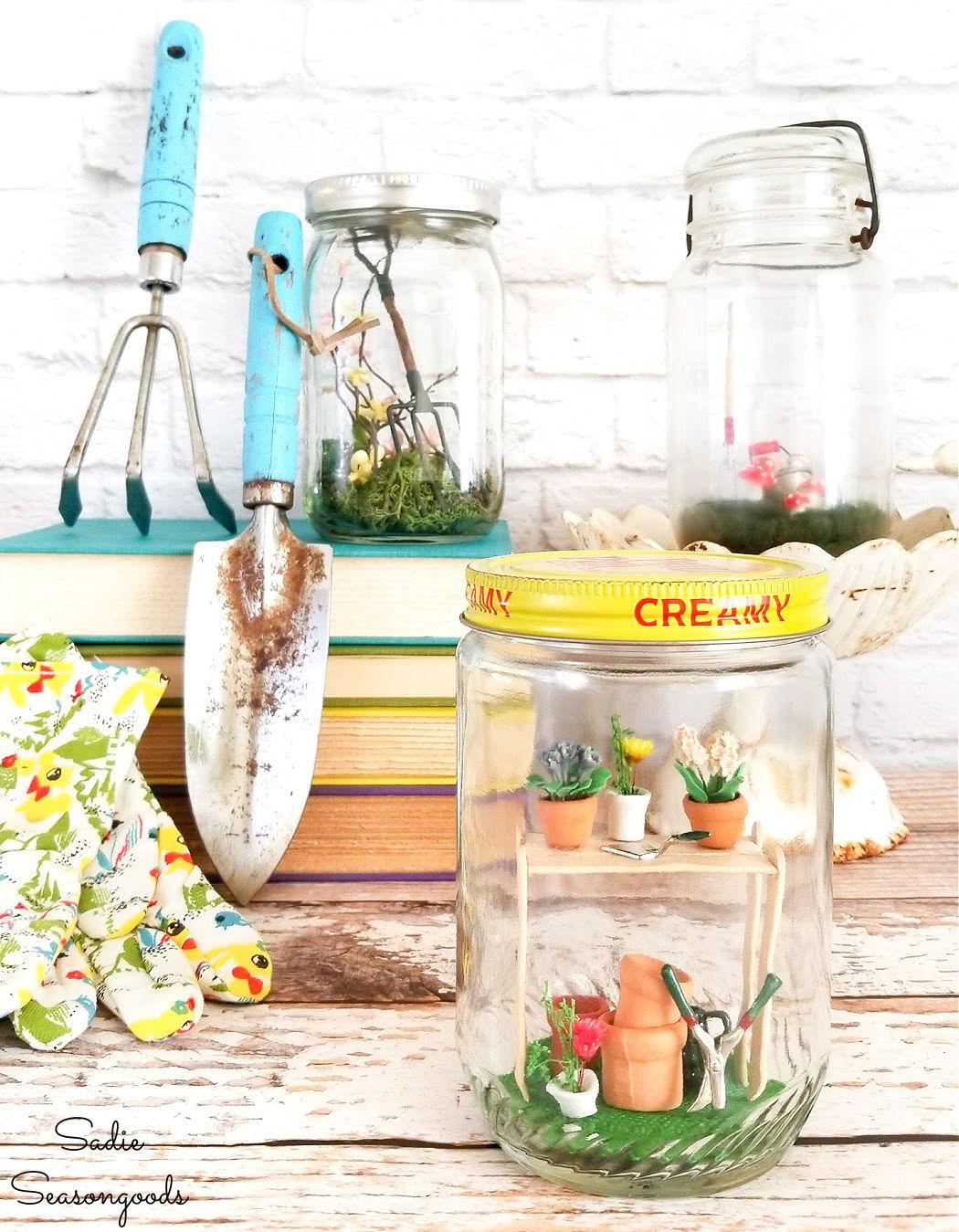 fairy garden in a jar as diy spring decor