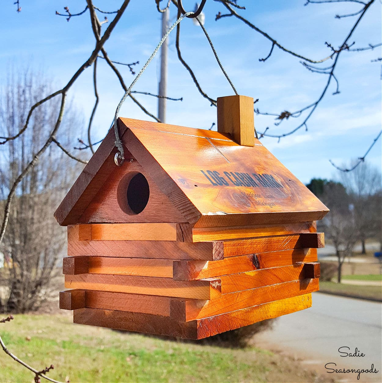 Log Cabin Birdhouse from a Vintage Coin Bank