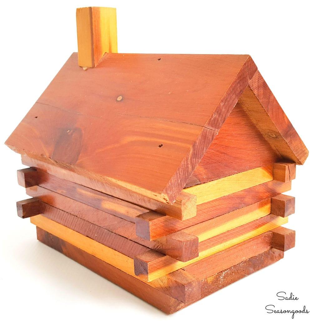 Log cabin coin bank