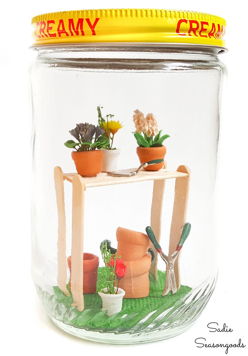 spring decor with fairy garden in a jar