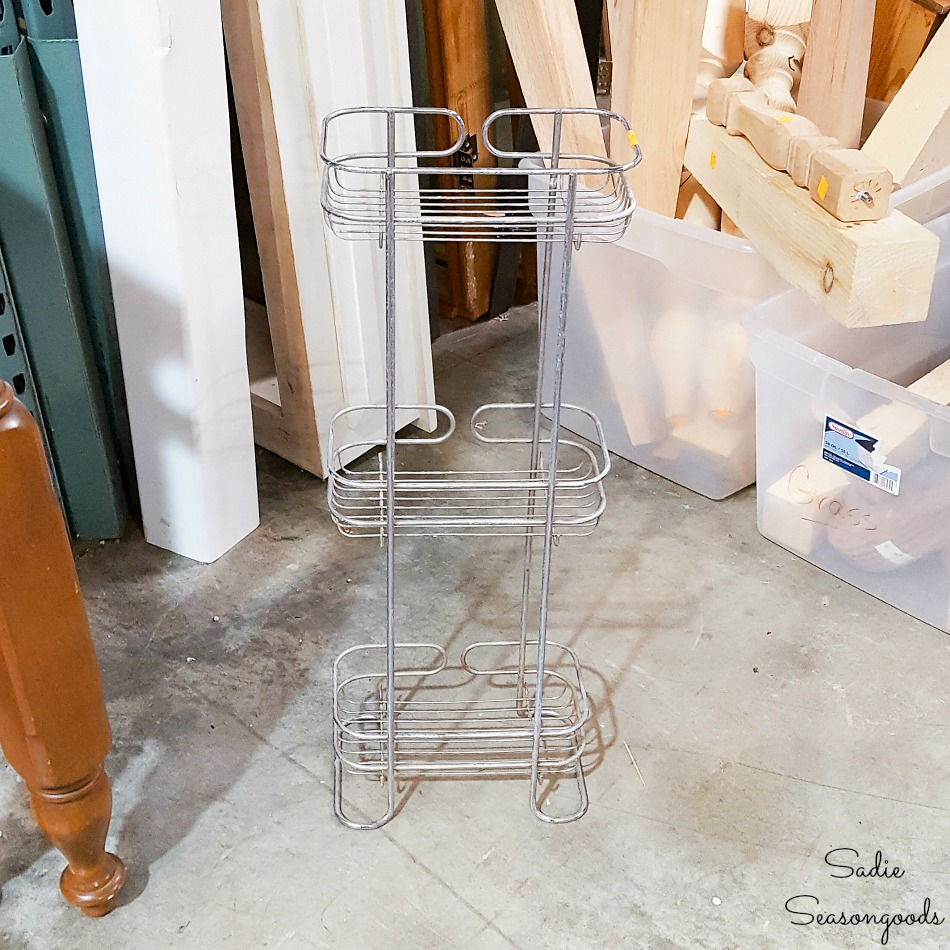 Standing shower caddy at a thrift store for upcycling ideas