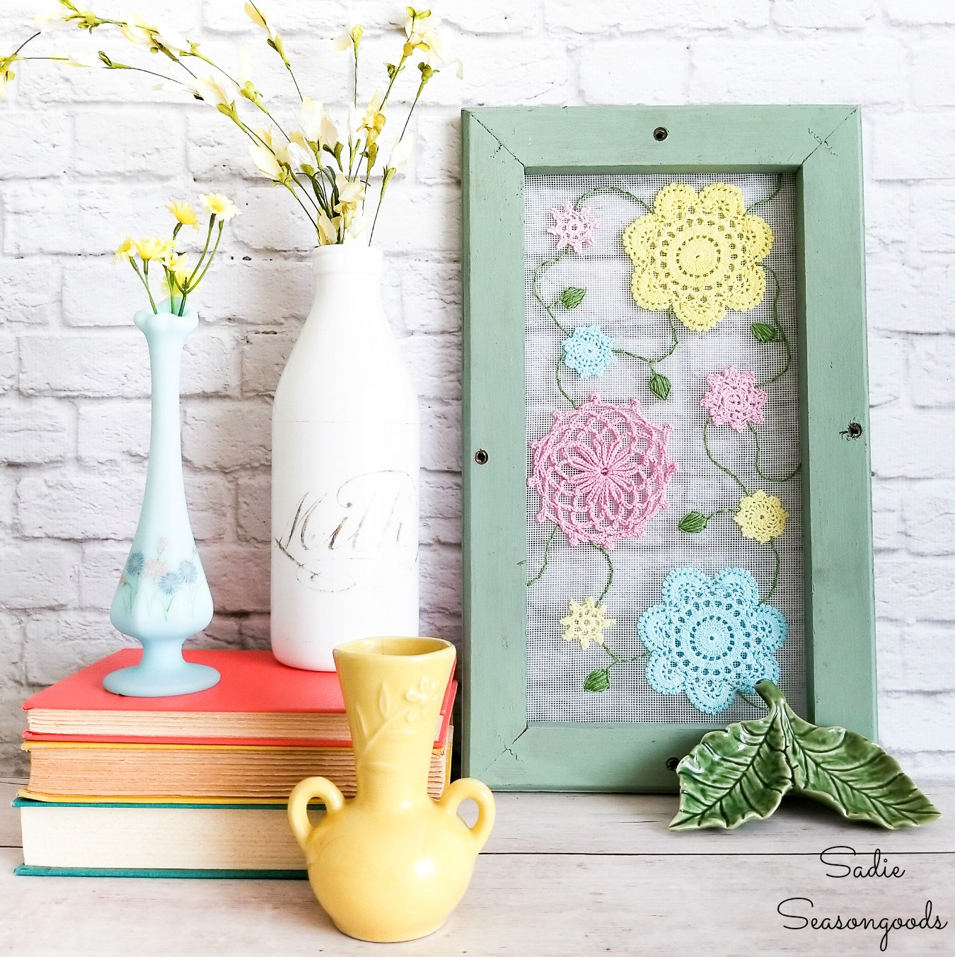 Cottage Style Decor with Vintage Doilies on a Window Screen Frame