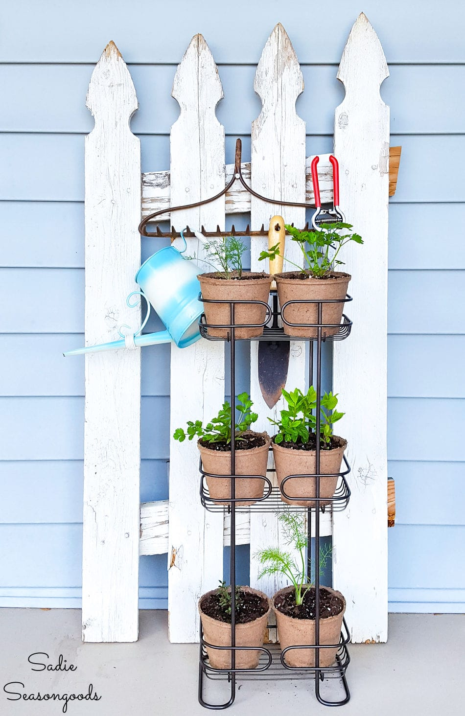 herb plant stand with a shower caddy