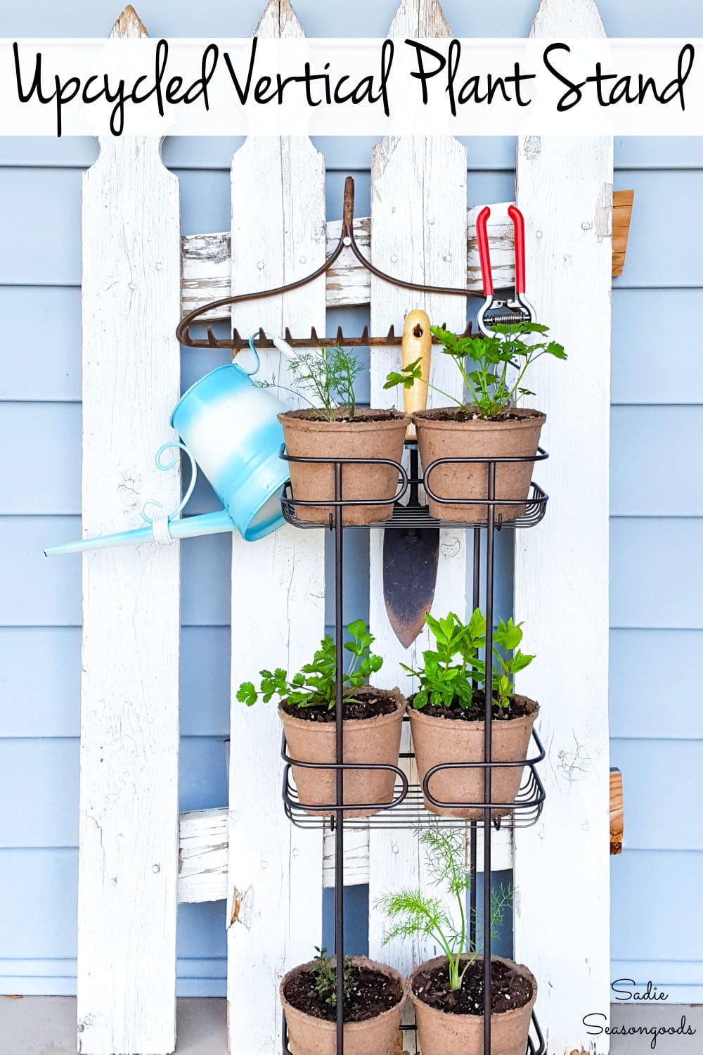 herb plant stand with a stand up shower caddy