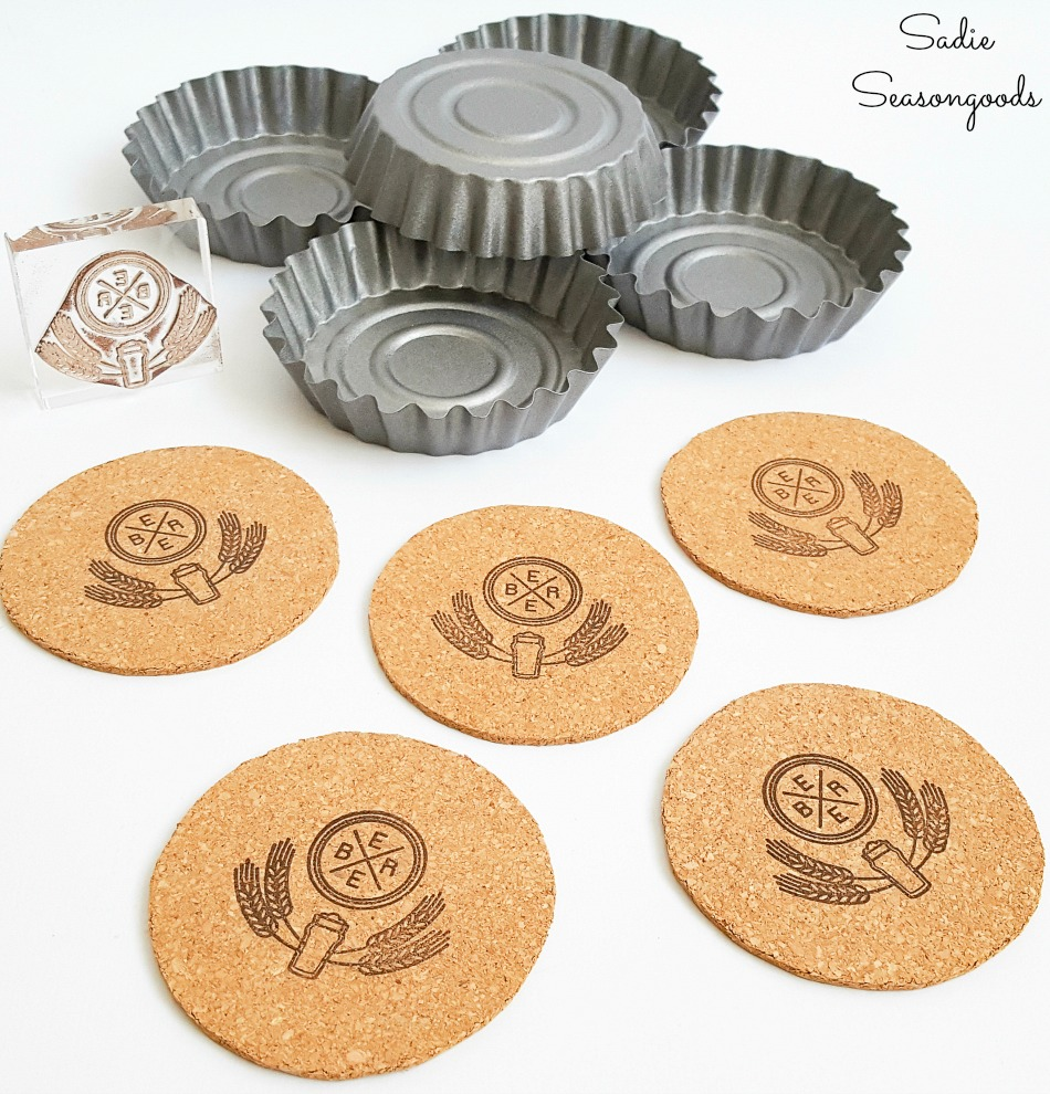 Beer stamp on cork coasters for fluted tart pans