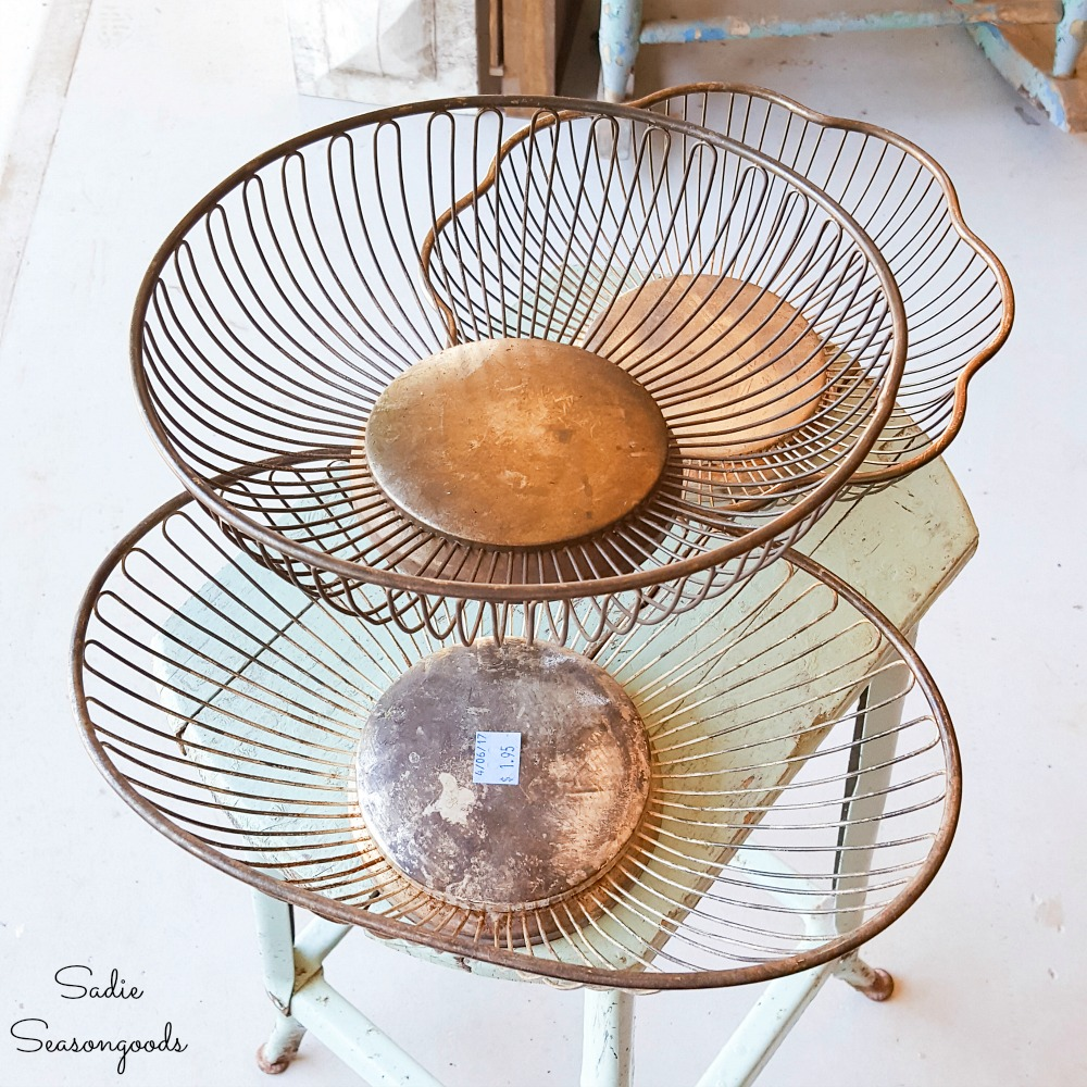 Different shapes of bread baskets for repurposing as industrial farmhouse decor