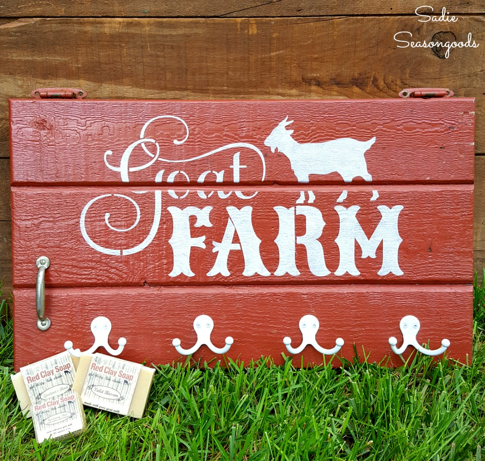 Farm Sign and Country Wall Decor on a Cabinet Door
