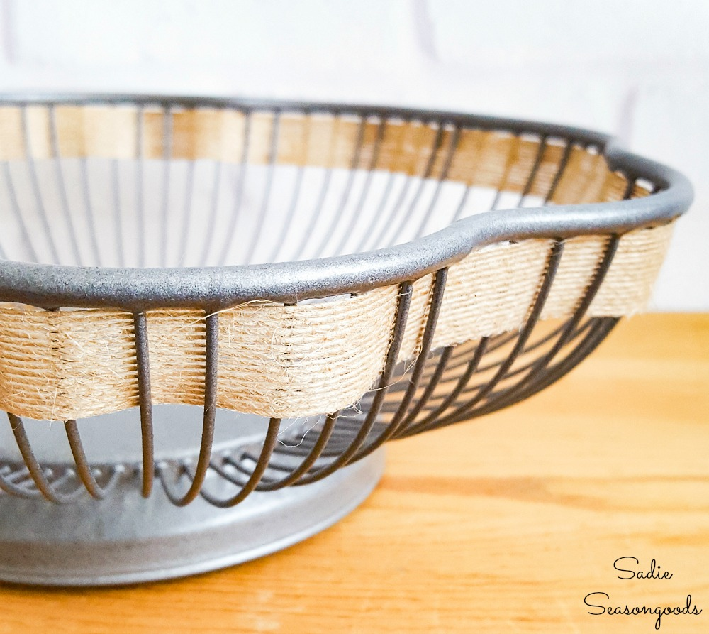 Flower wire basket with a single piece of farmhouse ribbon
