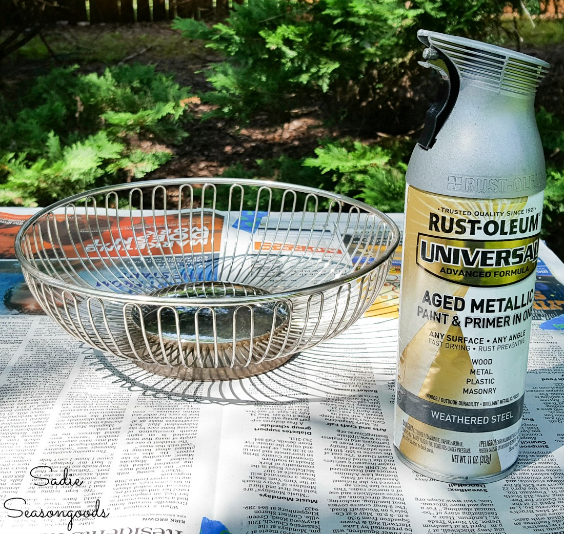Galvanized spray paint for the bread basket to become a farmhouse wire basket