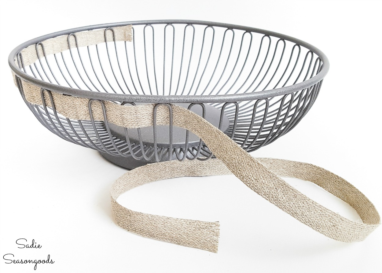Weaving the farmhouse ribbon through a bread basket