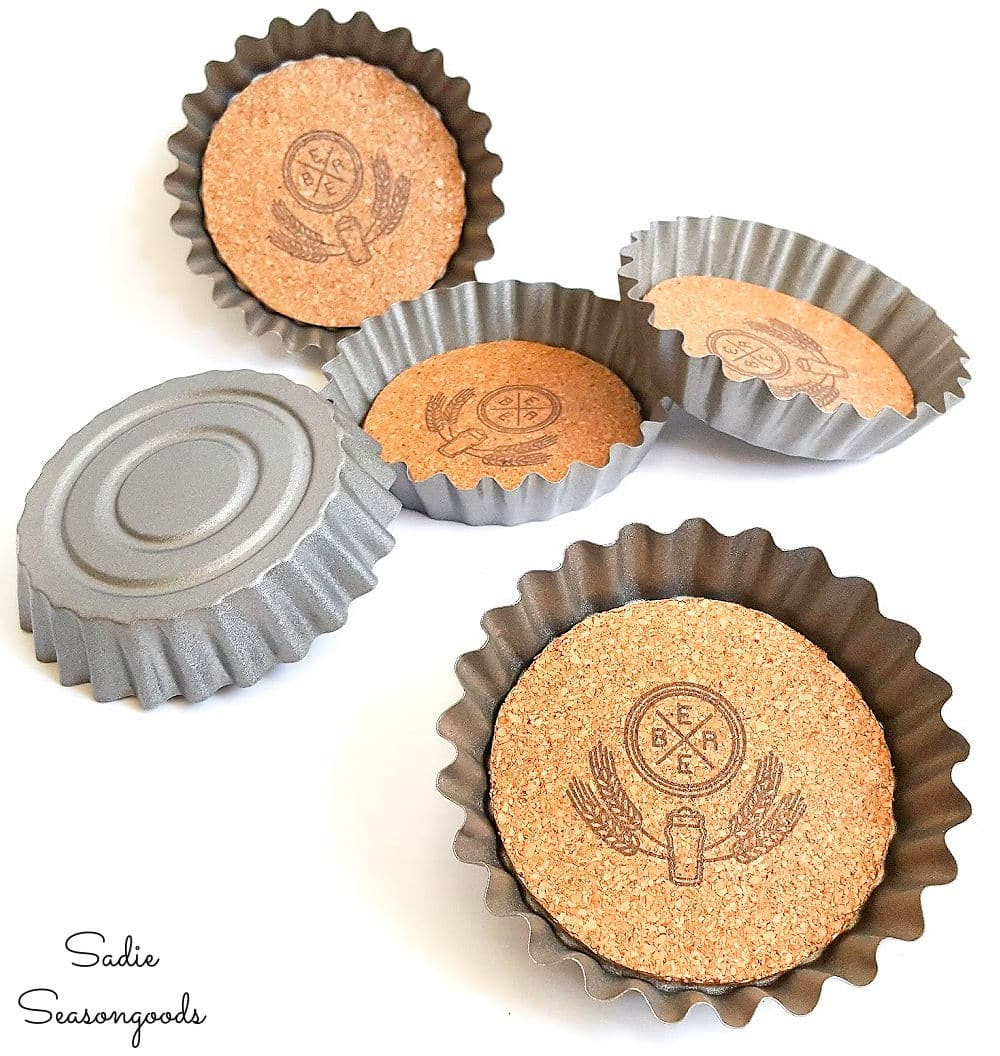 bottle cap coasters from fluted tart tins