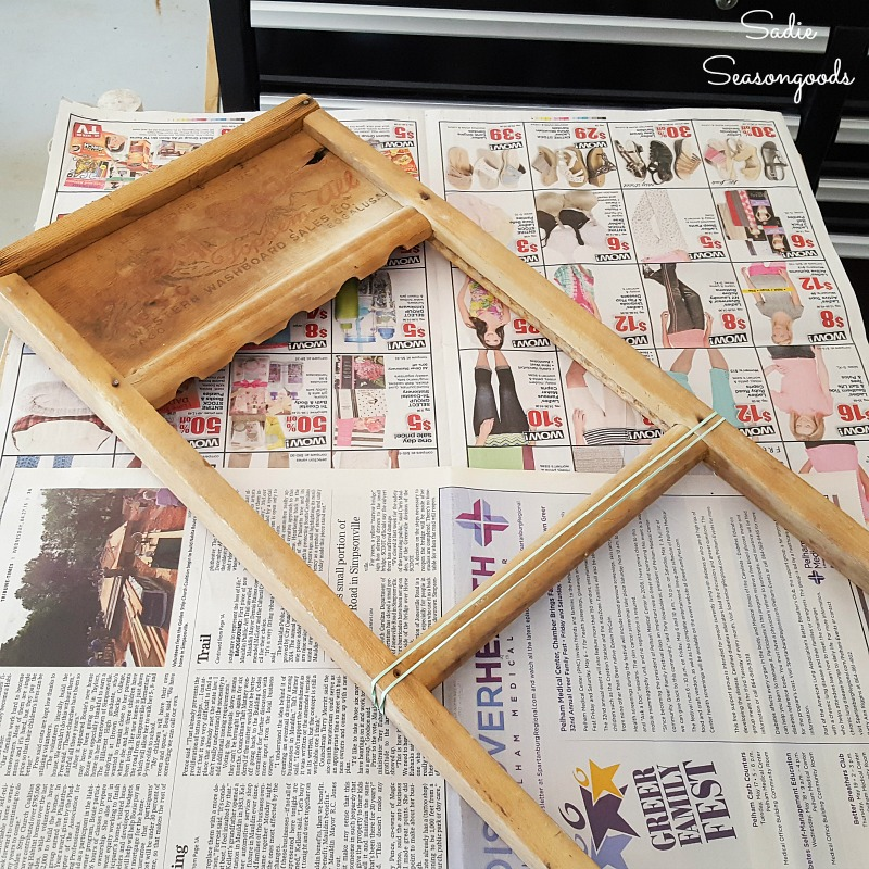 Allowing the plastic wood to dry in an antique washboard that needed to be fixed