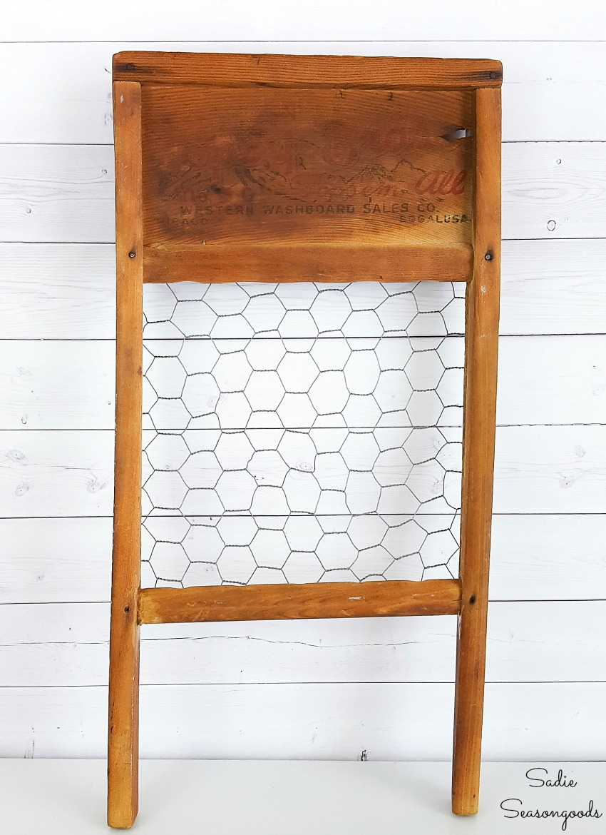 Antique washboard with chicken wire frame for primitive country decor