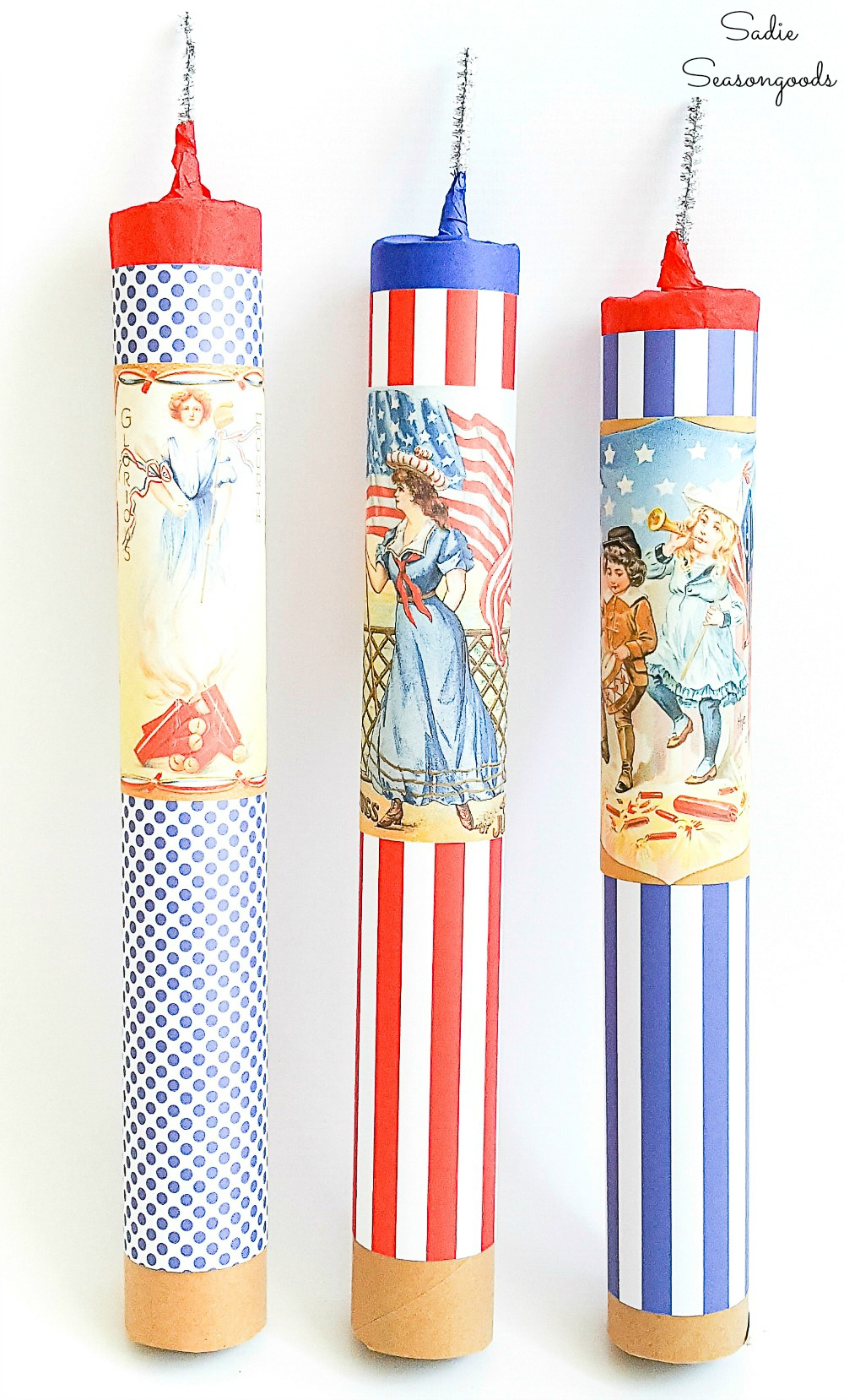 Cardboard tubes as fake firecrackers for Independence Day decorations