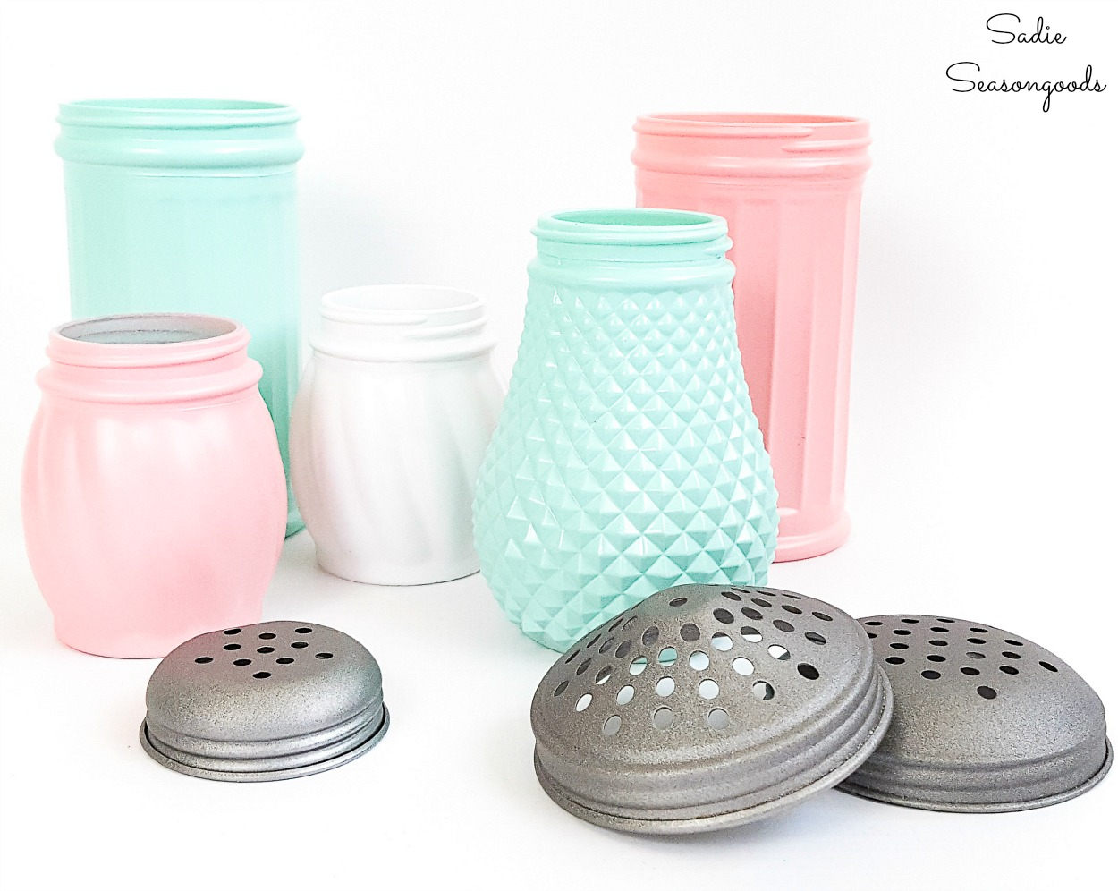 Cheese shakers that look like the pink milk glass and green milk glass