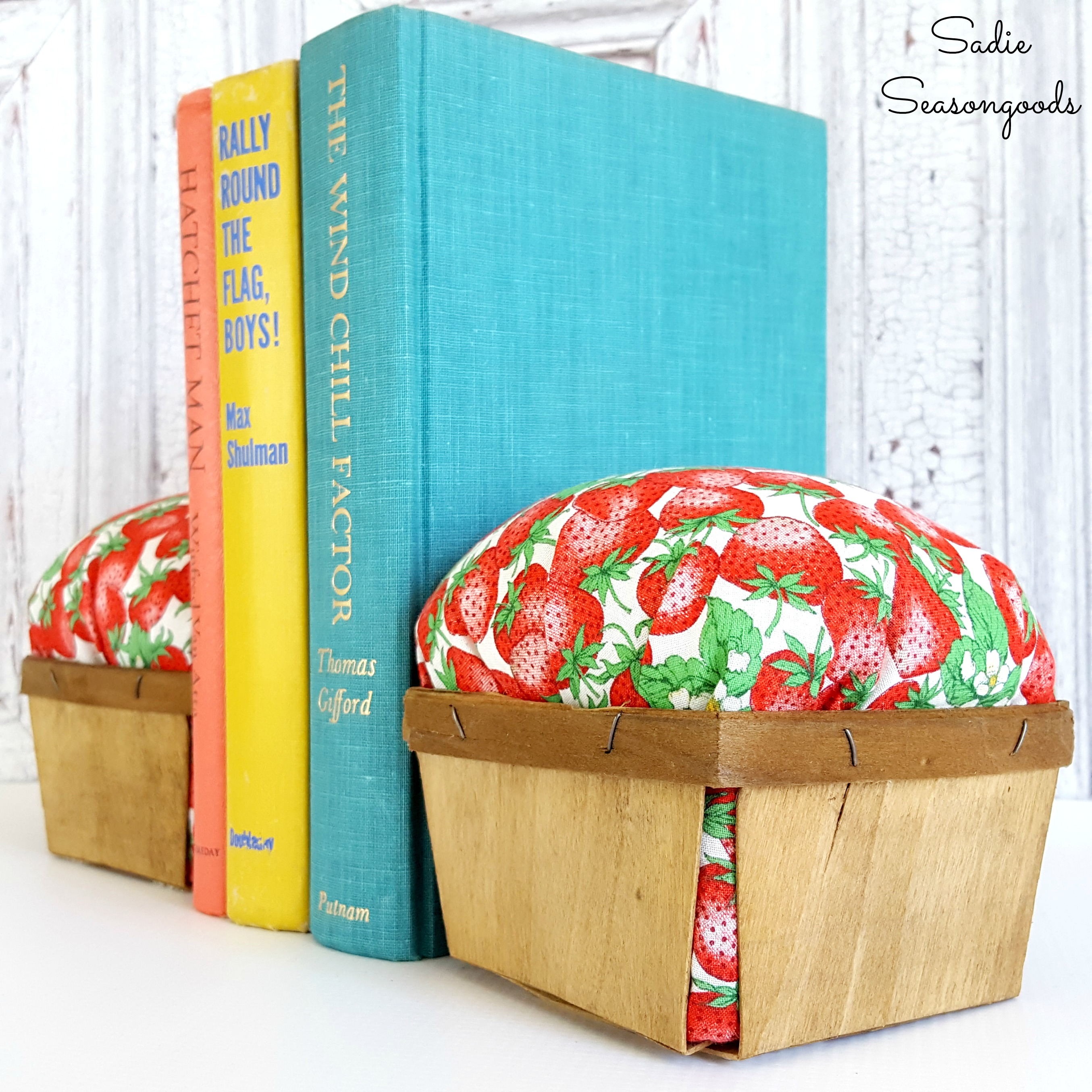 Decorative Bookends for Summer Decor with Berry Baskets