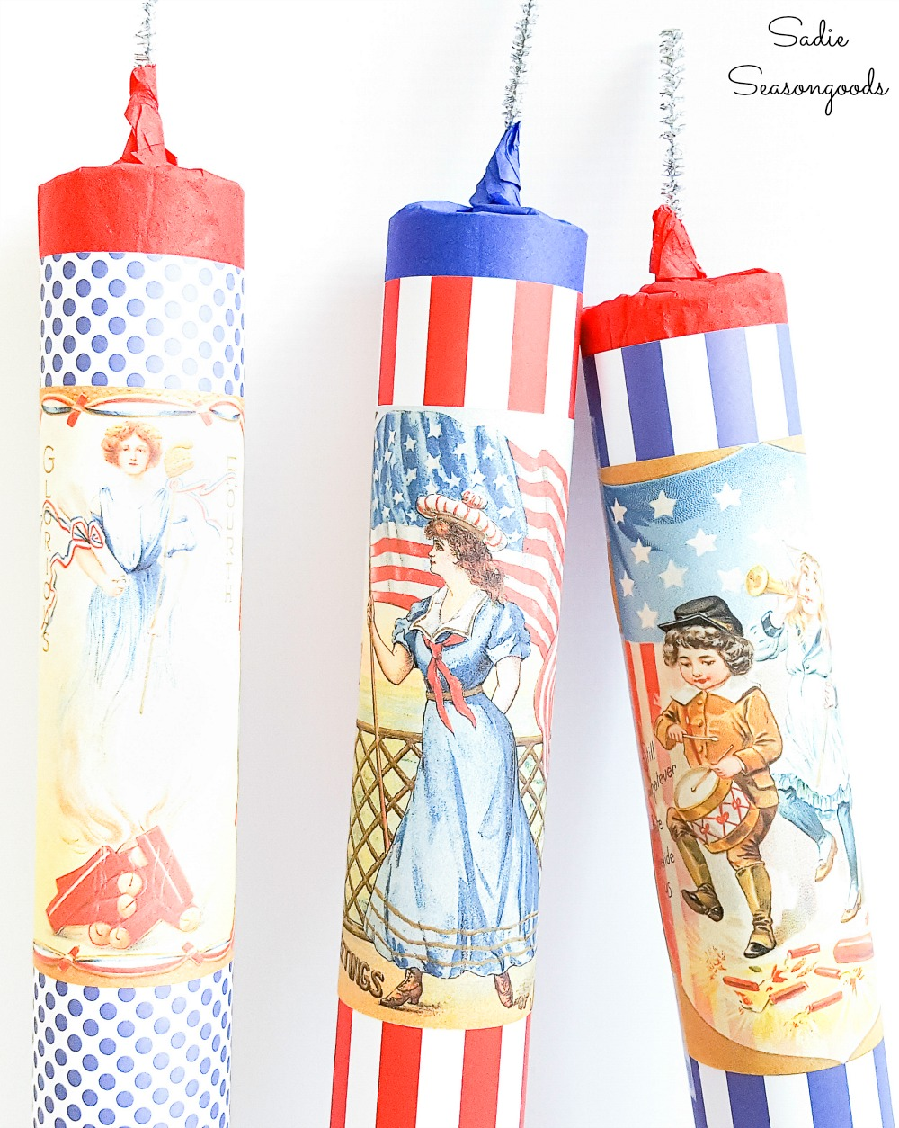 Fake firecrackers for July 4 decor from cardboard rolls
