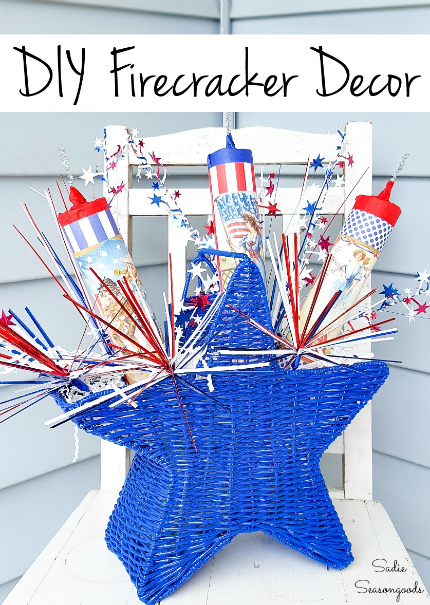 Fake fireworks in a star basket for Independence Day decorations