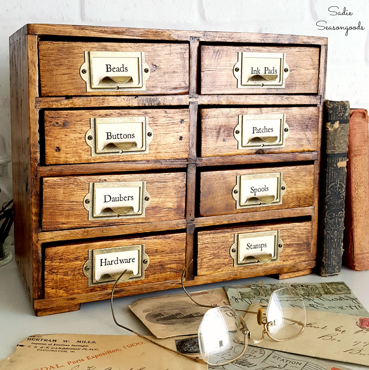 How to make a library card catalog from thrift store furniture into vintage farmhouse decor by Sadie Seasongoods
