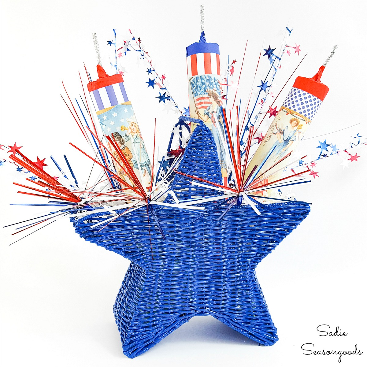 Independence Day decorations in a star basket with fake firecrackers
