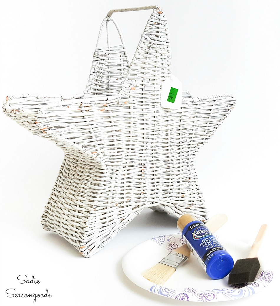 Painting a star basket for July 4 party decorations