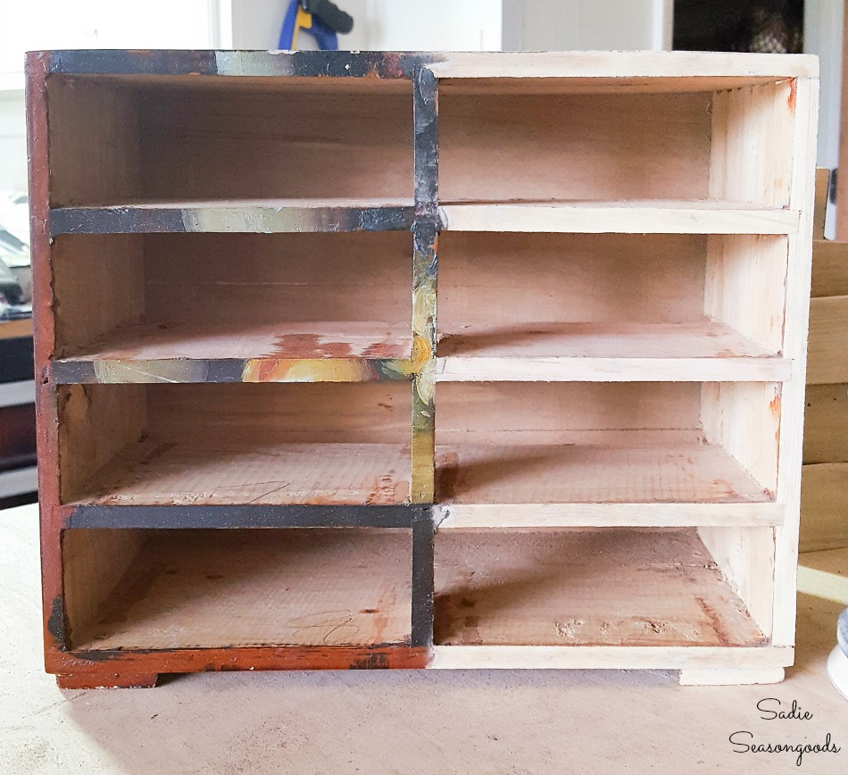 Upcycling a small wooden chest to look like an antique card catalog