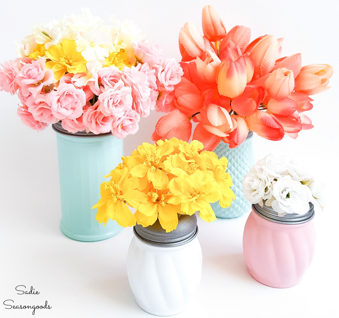Upcycling the cheese shakers into pink milk glass with a flower frog