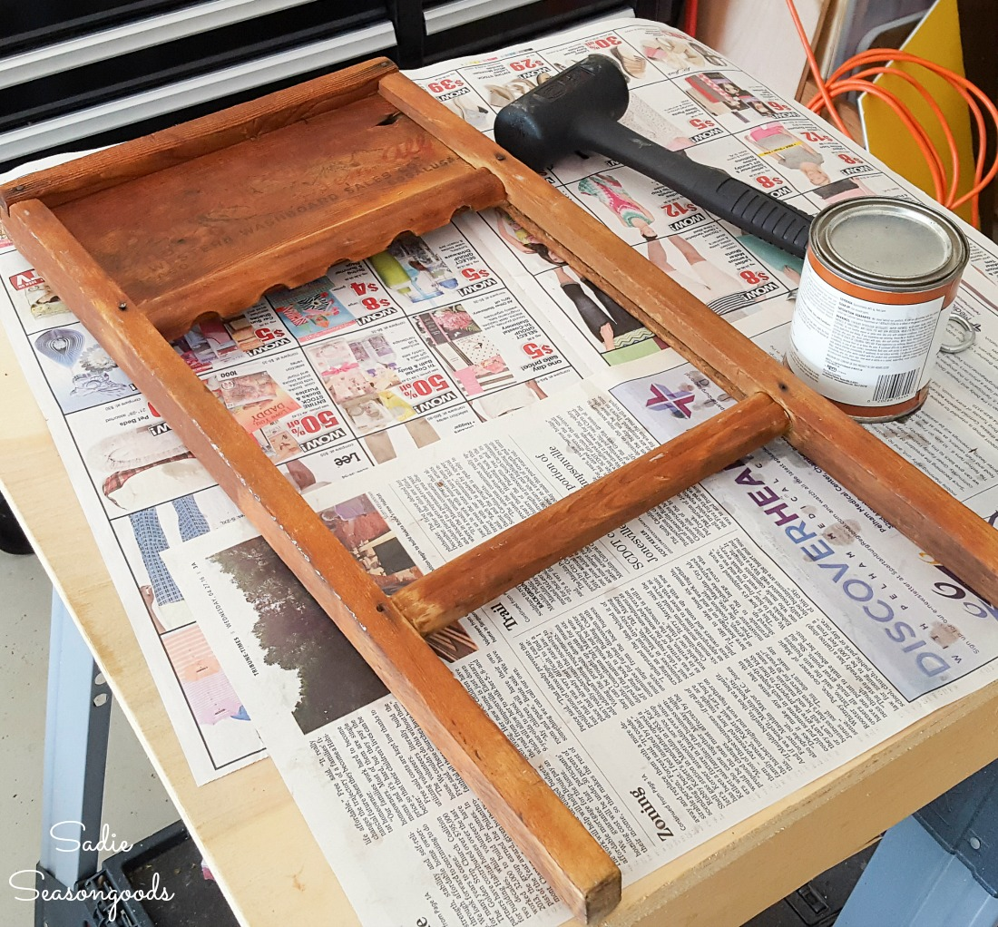 Using the butcher block oil on an antique washboard or vintage washboard