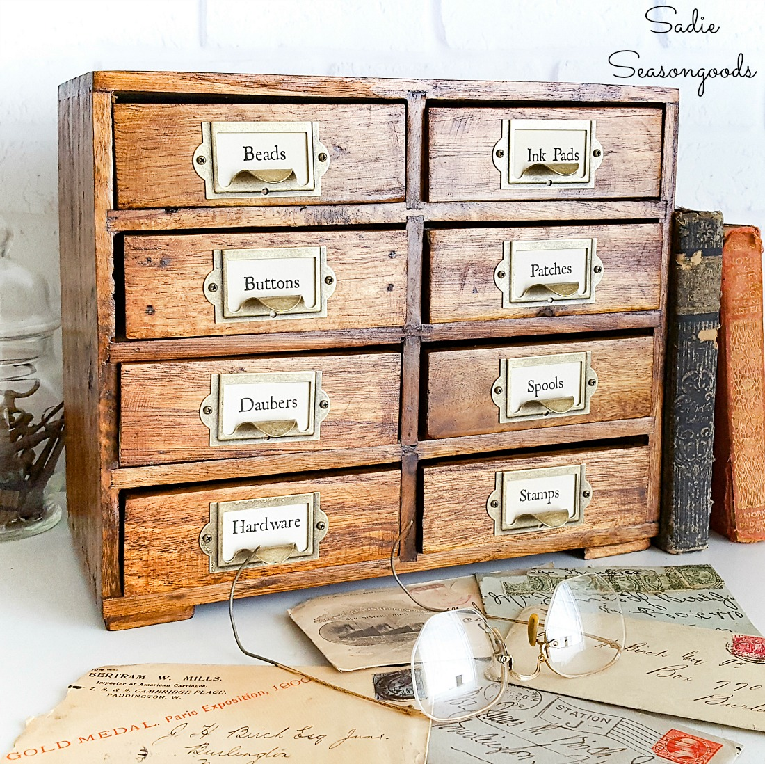 Refinishing a Mini Chest of Drawers as a Vintage Card Catalog