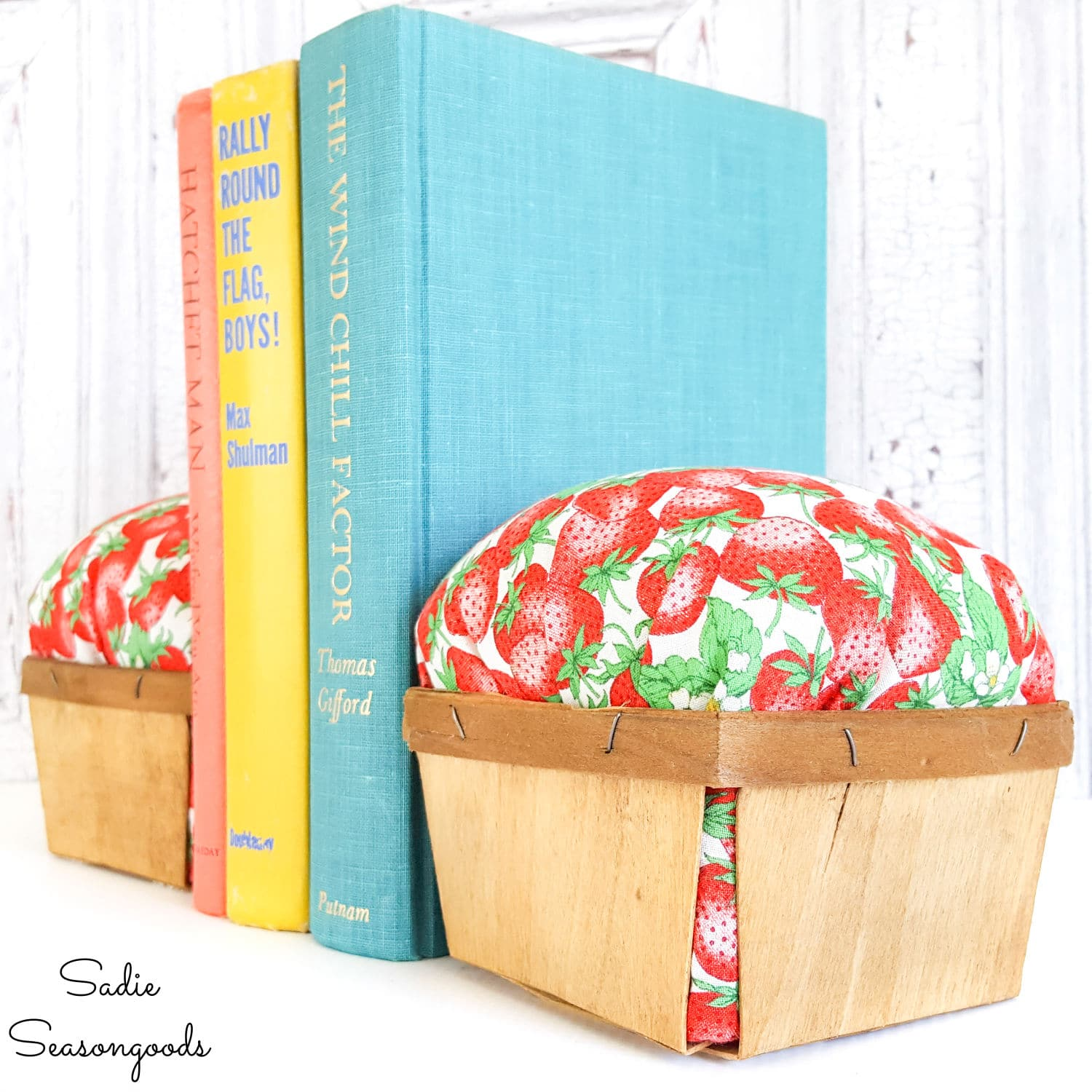 Berry Baskets as Bookends and Strawberry Decor