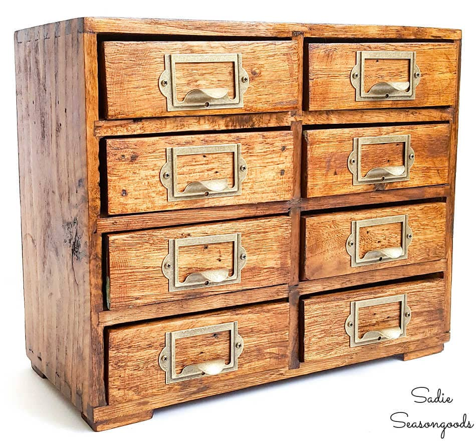 replica of a vintage library card catalog