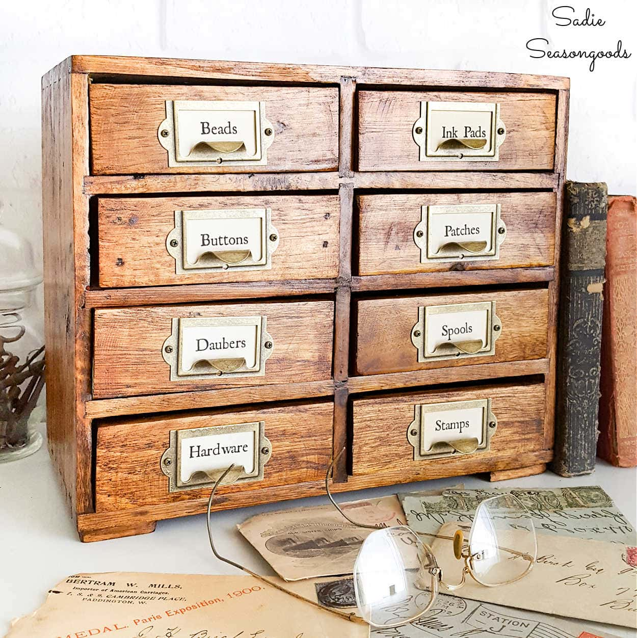 Tabletop Version of a Vintage Library Card Catalog