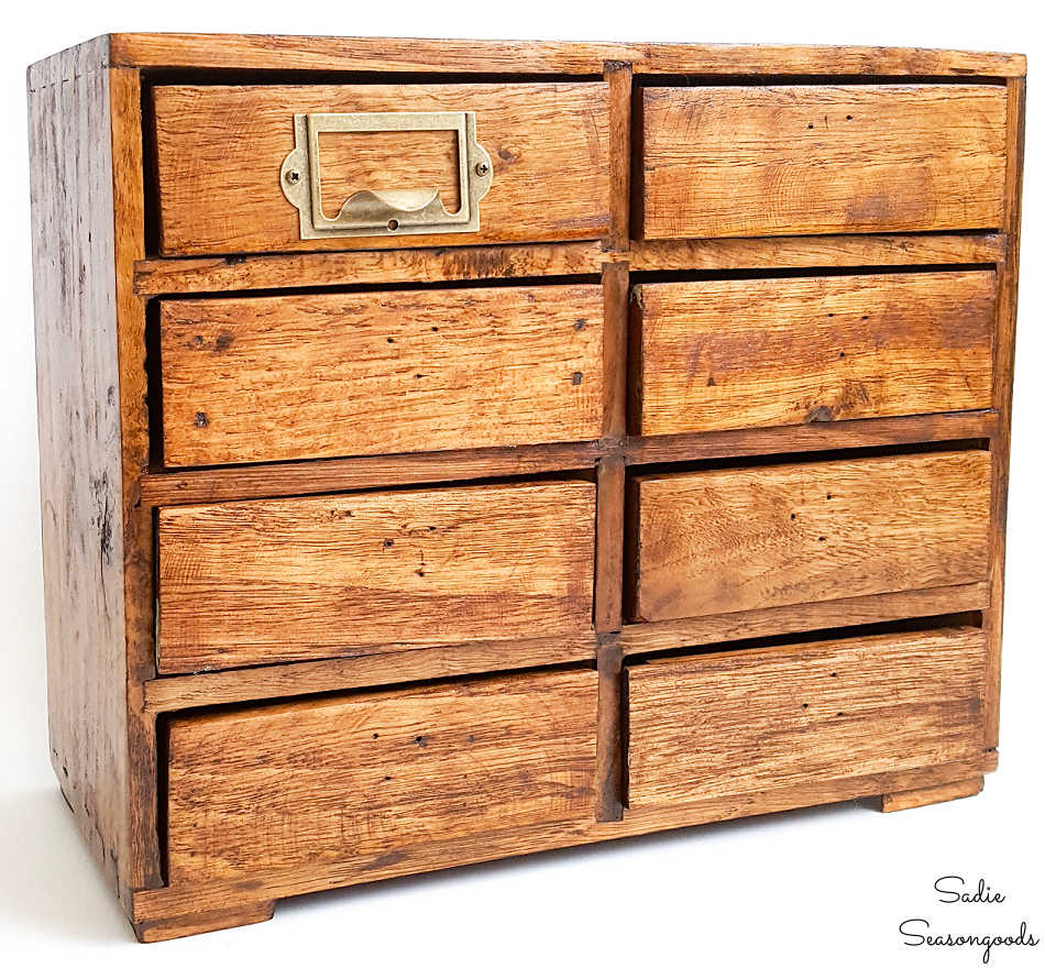upcycled version of a wooden card catalog