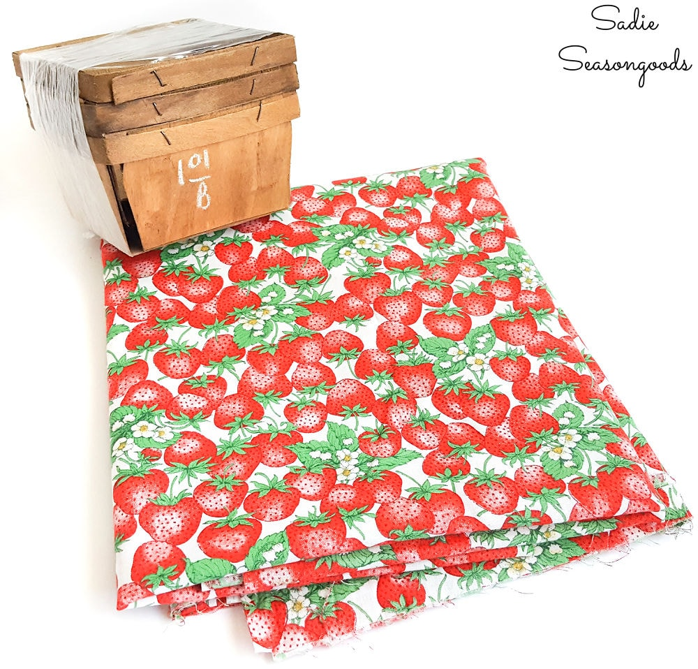 vintage fabric for strawberry decor