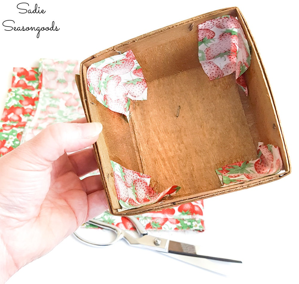 vintage fabric to cover the berry baskets