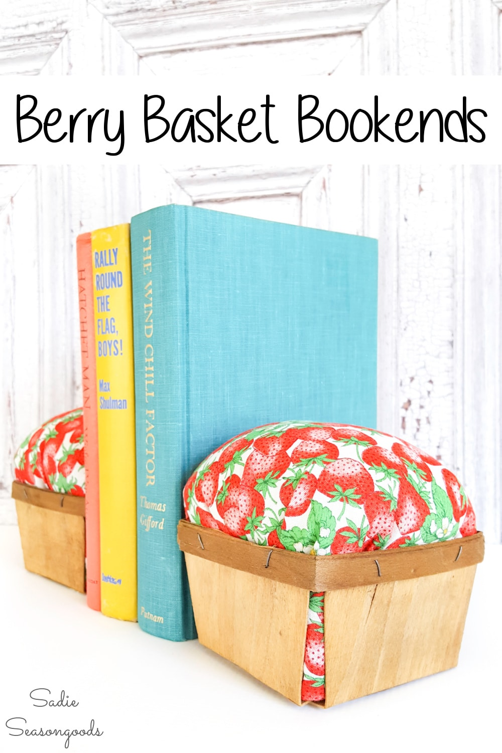 wooden berry baskets as DIY bookends