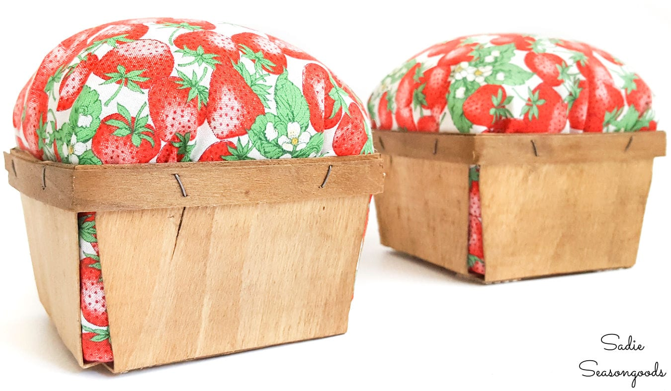 wooden berry baskets as kitchen bookends