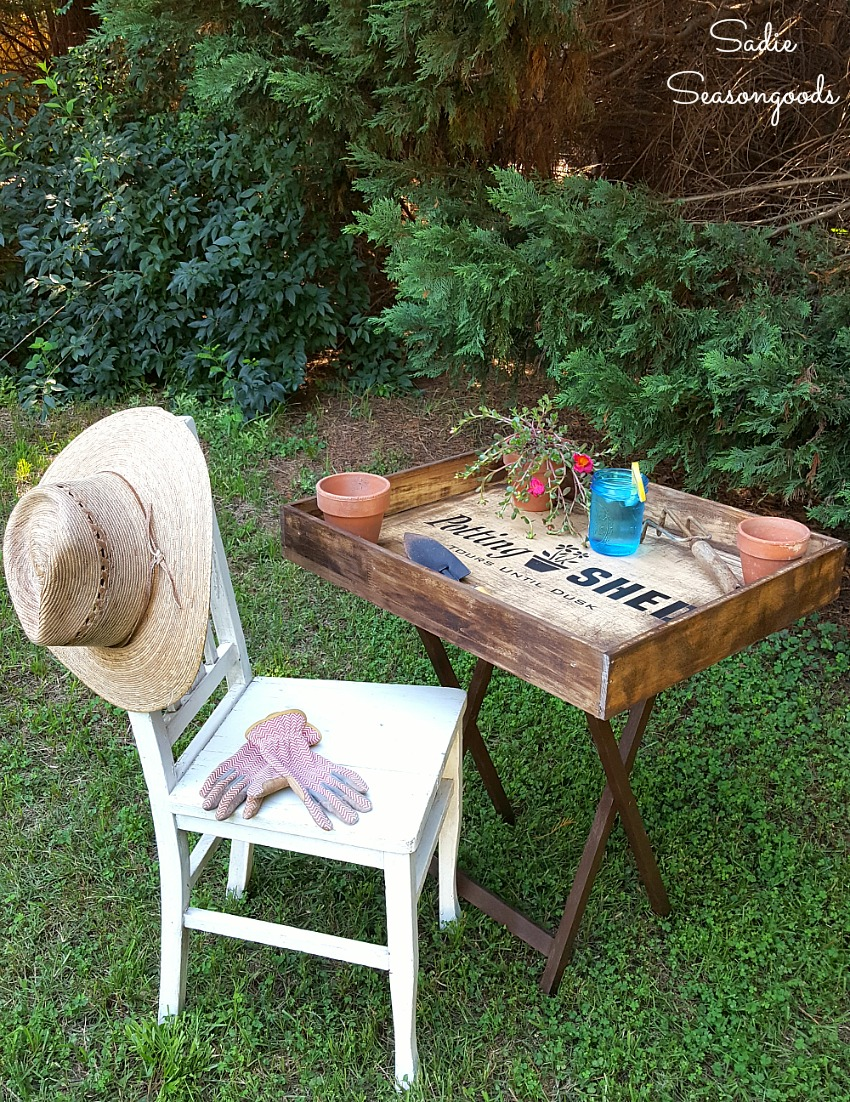 Potting bench or planting table for easy storage and portability by Sadie Seasongoods