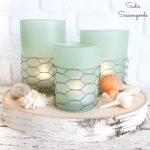 Coastal Farmhouse Decor from Glass Candle Holders