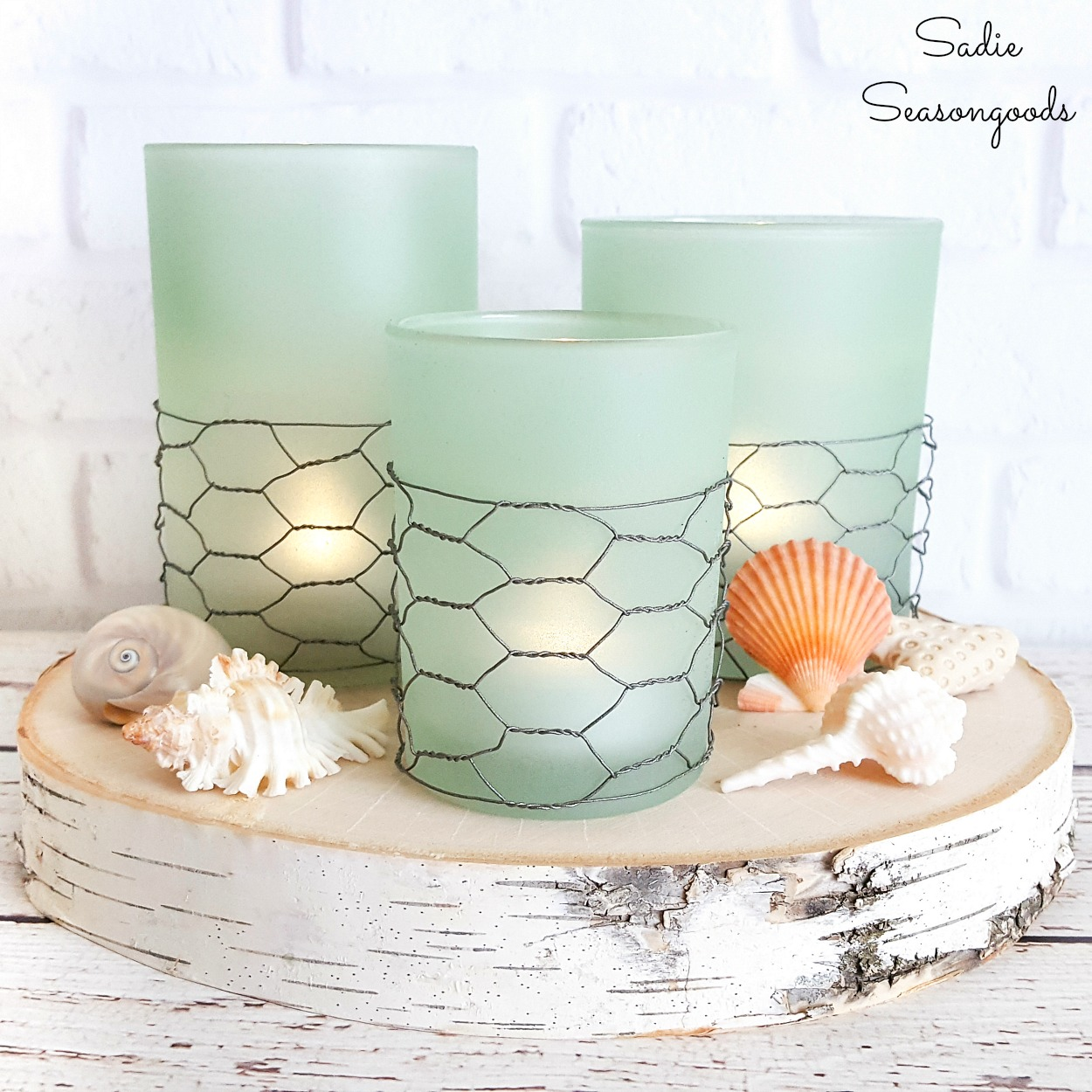 Coastal Farmhouse Decor from Glass Candle Holders