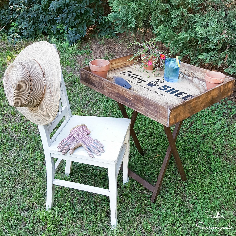 Upcycling a Wooden Tray Table into a Potting Bench