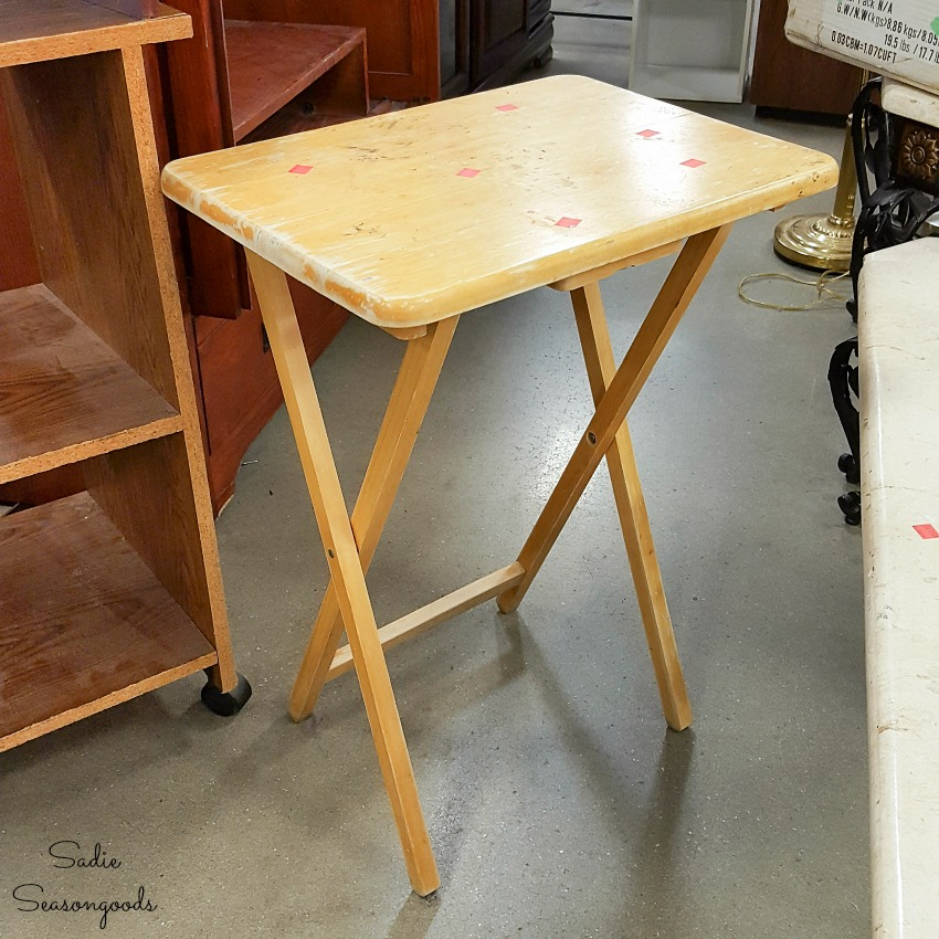 Wooden tray table at a thrift store to become a potting bench