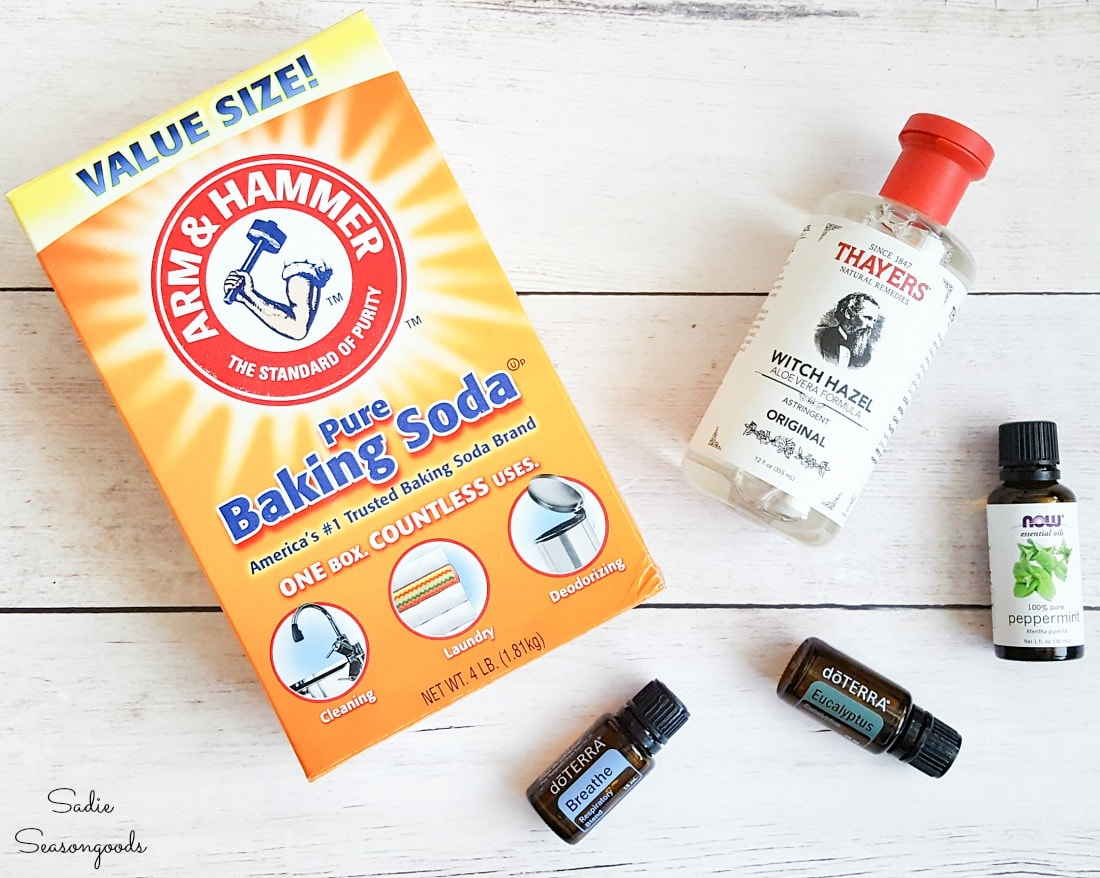 Ingredients for DIY shower melts with essential oils for sinus congestion